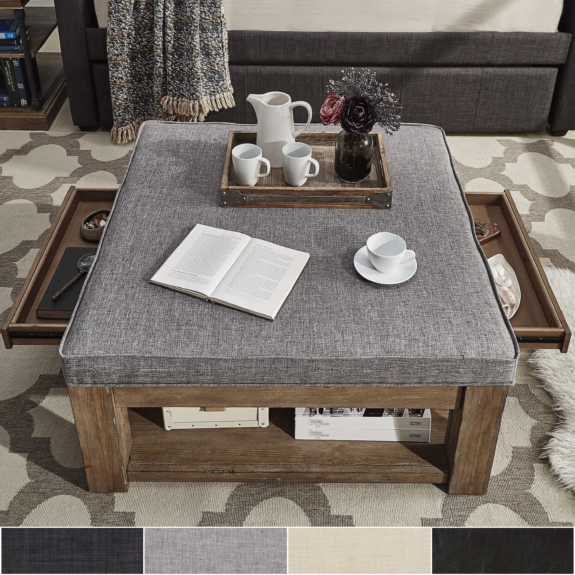 Lennon Pine Square Storage Ottoman Coffee Table By Inspire Q Artisan Overstock 13404313