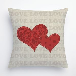 Two Red Hearts Cotton 14-inch Throw Pillow