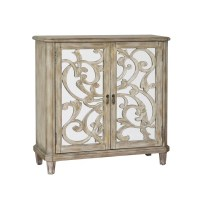 Shop Hand Painted Distressed Aged Ivory Wine Console ...