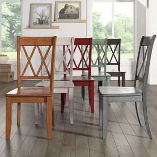 chairs for kitchen table copper appliances buy dining room online at overstock com our best eleanor double x back wood chair set of 2 by inspire q classic