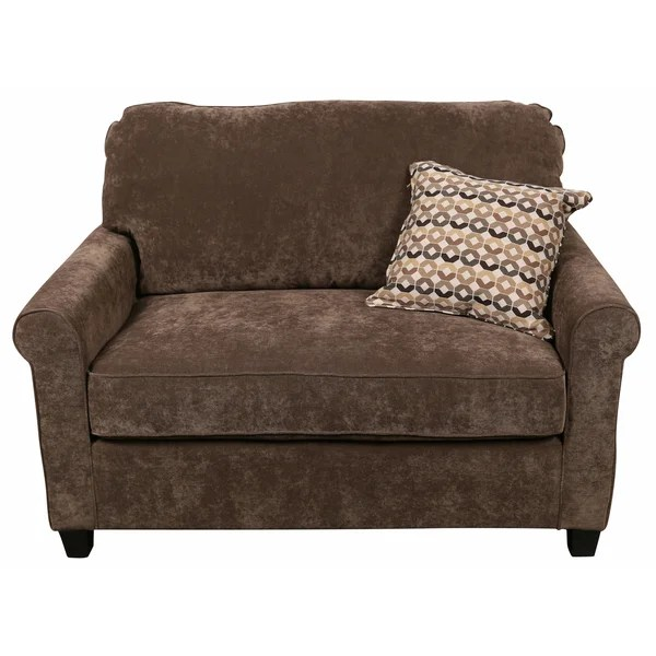 twin sleeper chair canada pillow target shop porter serena warm grey microfiber cuddler loveseat with woven accent