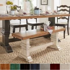 Vintage Dining Room Chairs High Bar Buy Kitchen Online At Overstock Com Eleanor Two Tone Trestle Leg Wood Bench By Inspire Q Classic