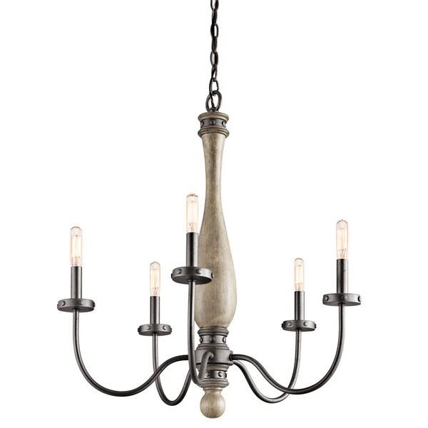 Kichler Lighting Evan Collection 5 Light Distressed Antique Grey Chandelier