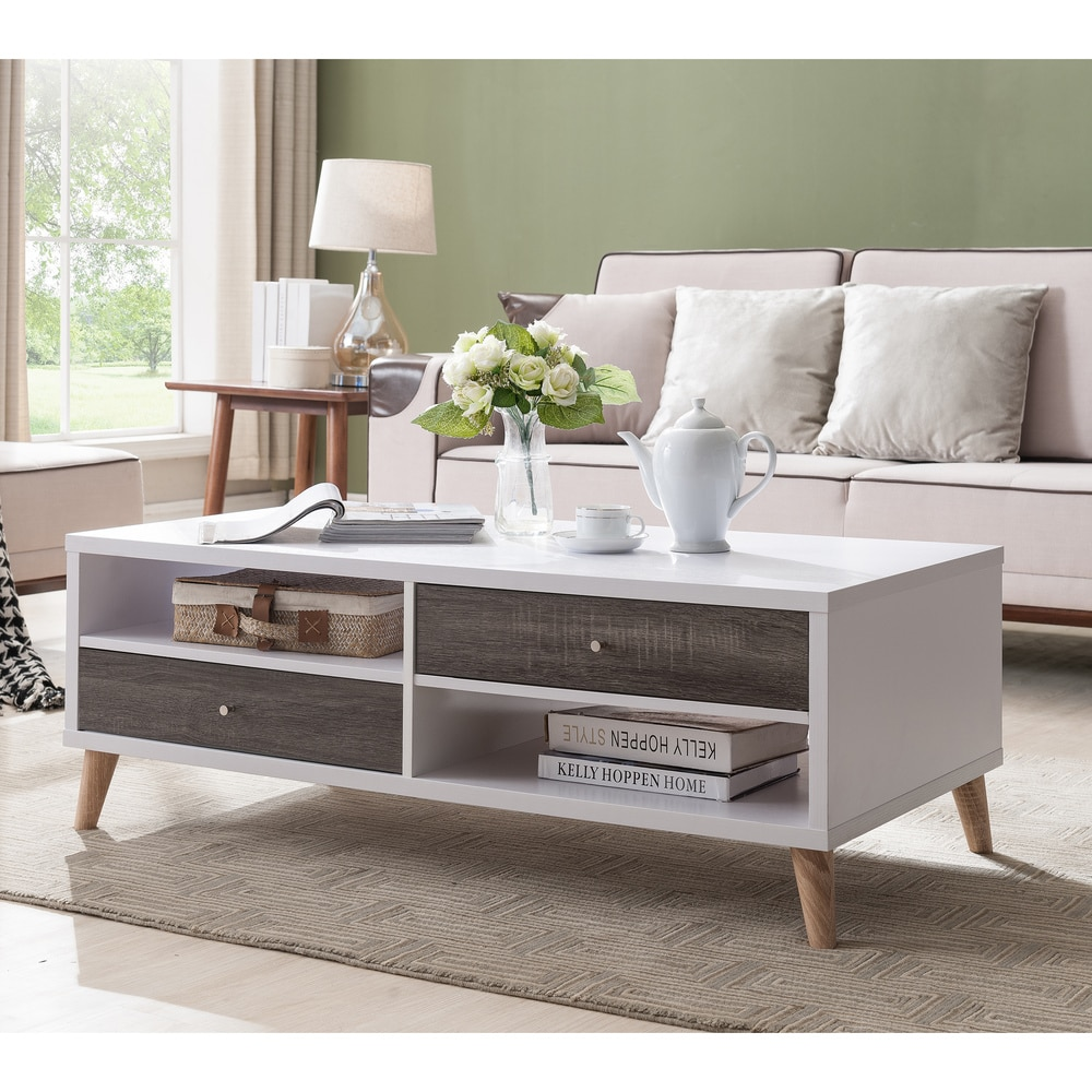 furniture of america bago mid century white 2 drawer coffee table