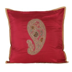 Handmade Silk Cushion Cover, 'Paisley Delight' (India)