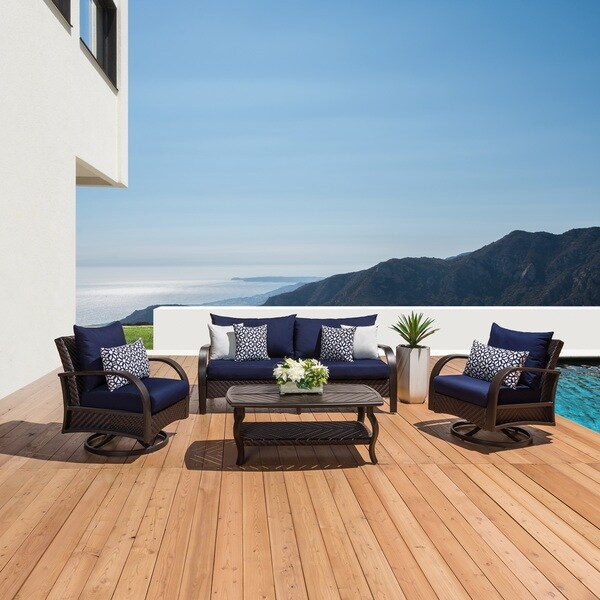 swivel chair sofa set stackable banquet chairs shop rst barcelo 4 pc navy and coffee table