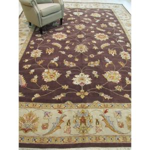 Hand-knotted Wool Brown Traditional Oriental Agra Rug (10'1 x 13'8)
