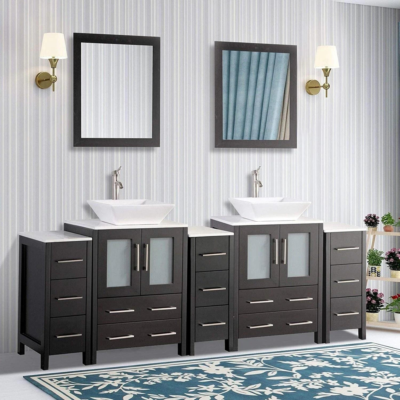 vanity art 84 inch double quartz sink bathroom vanity set 13 drawers 5 cabinet 2 shelves soft closing doors with free mirror