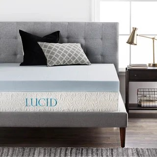 Lucid 4 Inch Gel Memory Foam Mattress Topper Option Twin