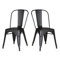 Shop Black Metal Industrial Farmhouse Dining Kitchen Chair ...