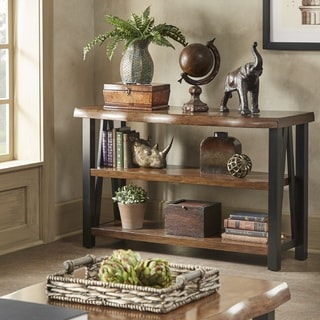 lodge living room furniture antique decorating ideas cabin find great deals banyan live edge wood and metal console sofa table bookshelf by inspire q artisan