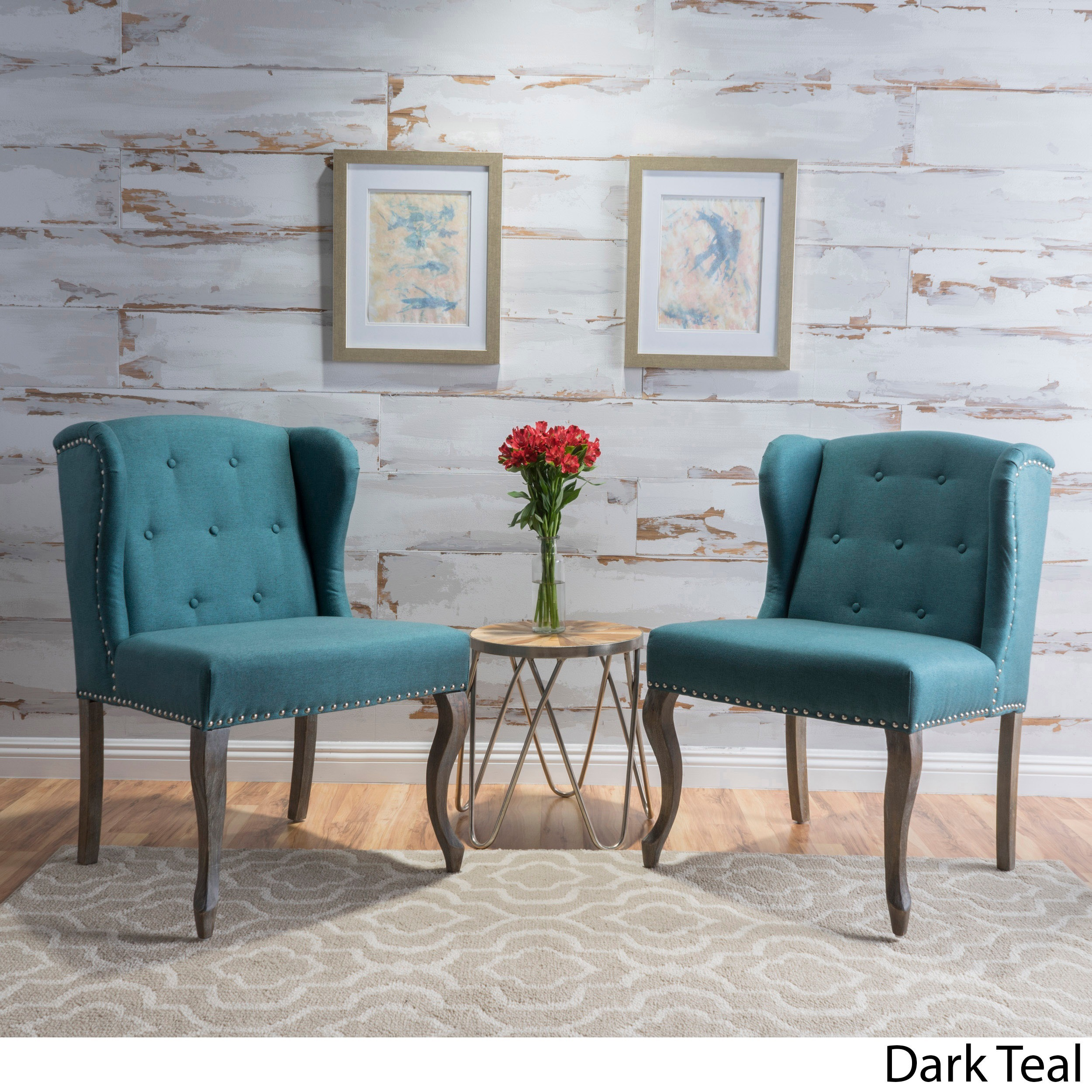 Set Of Accent Chairs Niclas Wing Back Studded Fabric Accent Chairs Set Of 2