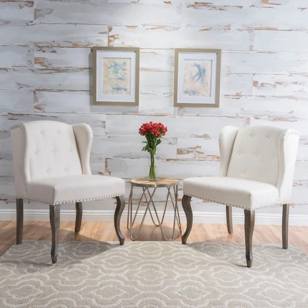 accent wingback chairs wheelchair types shop niclas wing back studded fabric set of 2 by christopher knight home