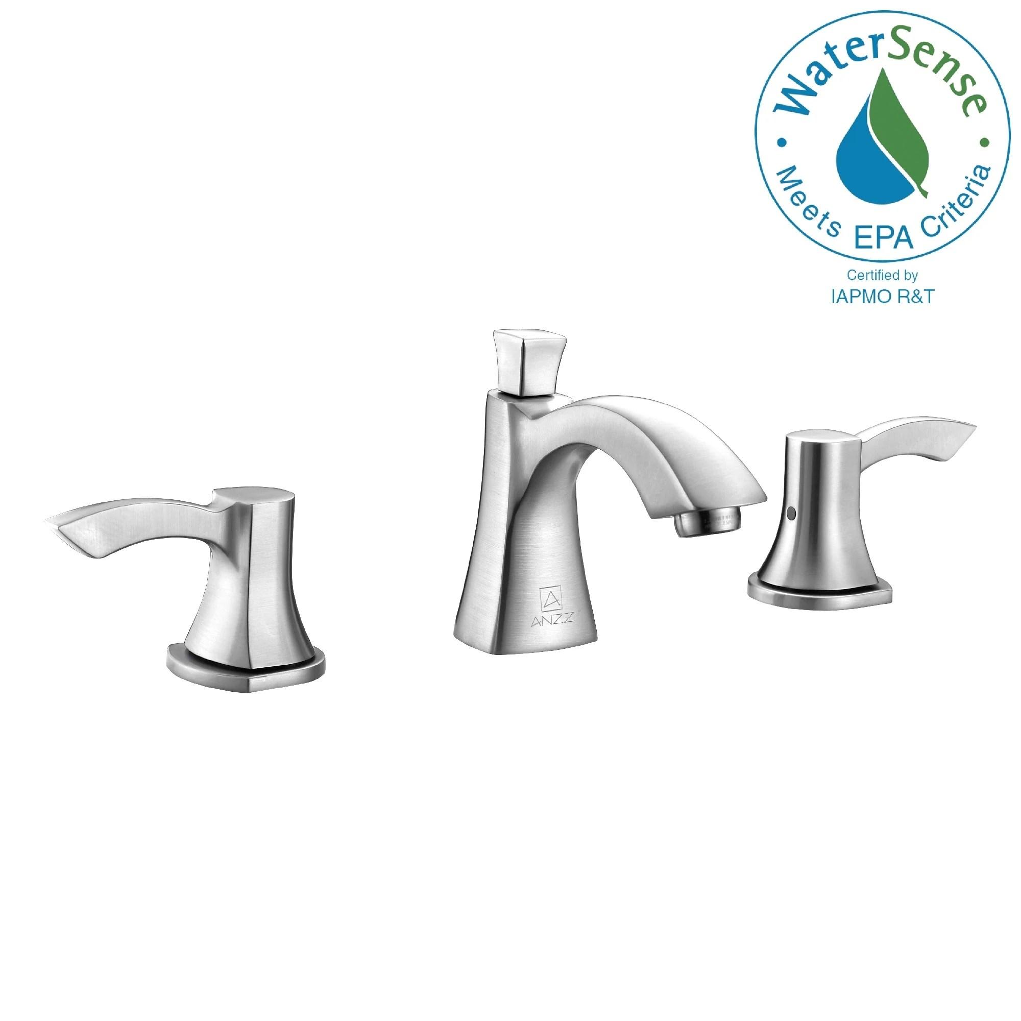 anzzi sonata series 8 inch widespread 2 handle mid arc bathroom faucet in brushed nickel