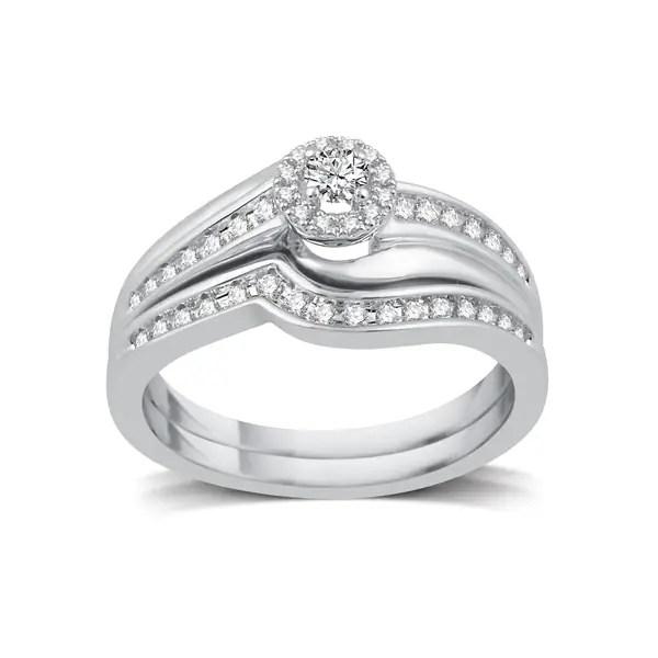 Shop Platinaire 1/3ct TDW White Diamond Halo Bridal Set