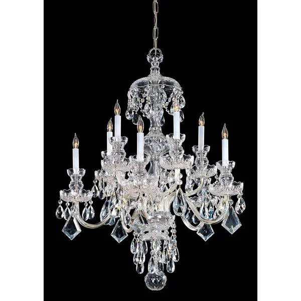 Crystorama Traditional Crystal Collection 10 Light Polished Brass Swarovski Strass Chandelier