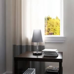 Porch & Den Custer Sand Nickel Fabric Shade Mini Table Lamp