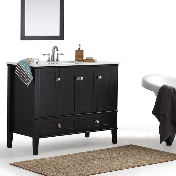 Shop WYNDENHALL Windham Black 42inch Bath Vanity with White Top  Free Shipping Today