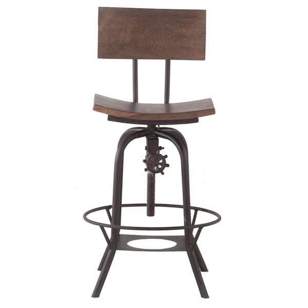adjustable height chairs hanging egg shop wood 18 inch wide bar stool with backrest free shipping today overstock com 14041848