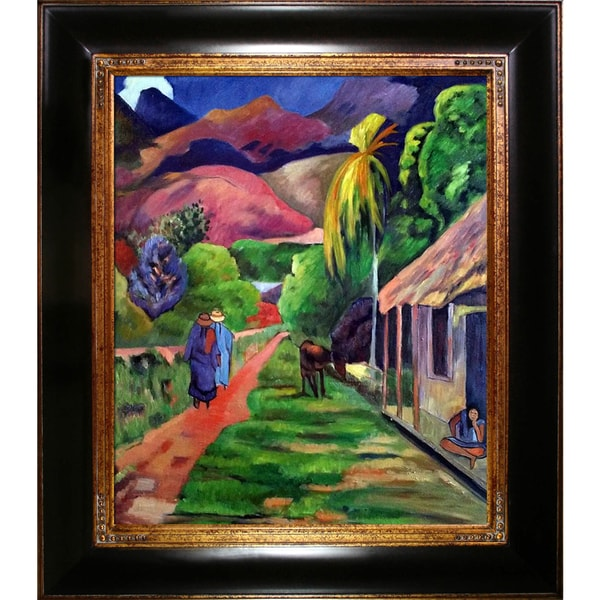 Shop Paul Gauguin 'Road in Tahiti. 1891' Hand Painted Framed Oil Reproduction on Canvas - Overstock - 14049862
