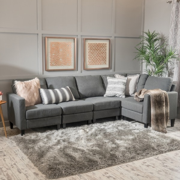 abbyson leather sofa reviews pillow decorative for zahra 5-piece fabric sectional by christopher knight ...