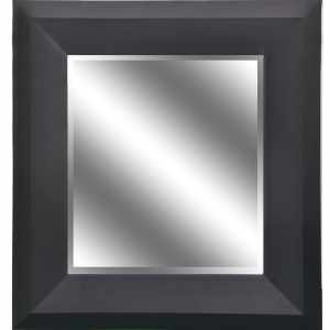 REFLECTION 23 x 27 x 1-inch Bevel Mirror with 5-inch Black Wood Grain Color Frame