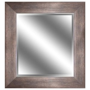REFLECTION 23 x 27 x 1-inch Bevel Mirror with 3.75-inch Bronze Wood Grain Color Frame - Antique Bronze