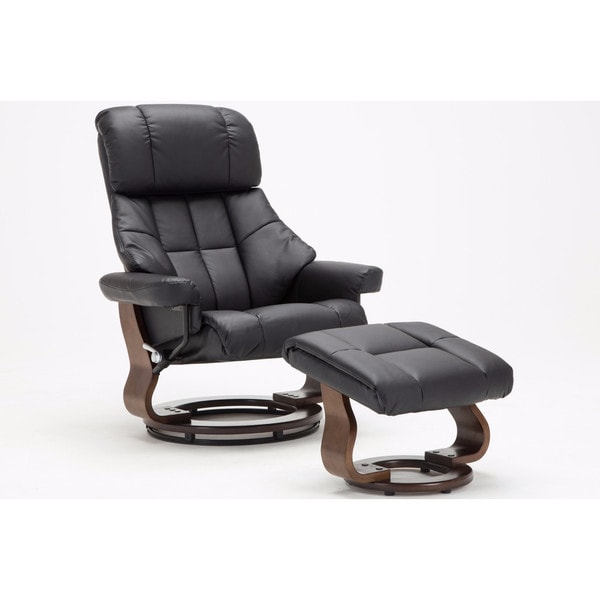 reclining chair with ottoman leather buy covers cheap shop mid century modern bonded lounge swivel and recliner foot stool