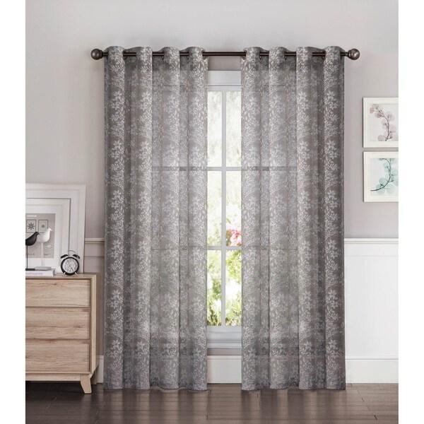 Shop Window Elements Botanica Faux Linen Semi Sheer Extra Wide 54 X 84 Grommet Curtain Panel