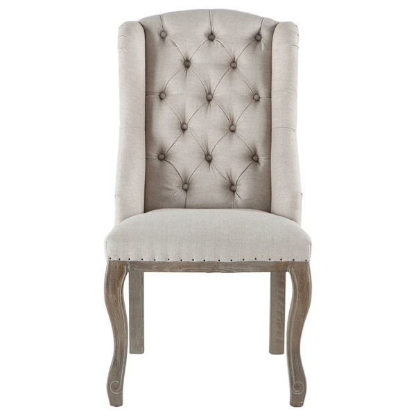 white tufted chair steelcase shop sheen off linen dining n a on sale