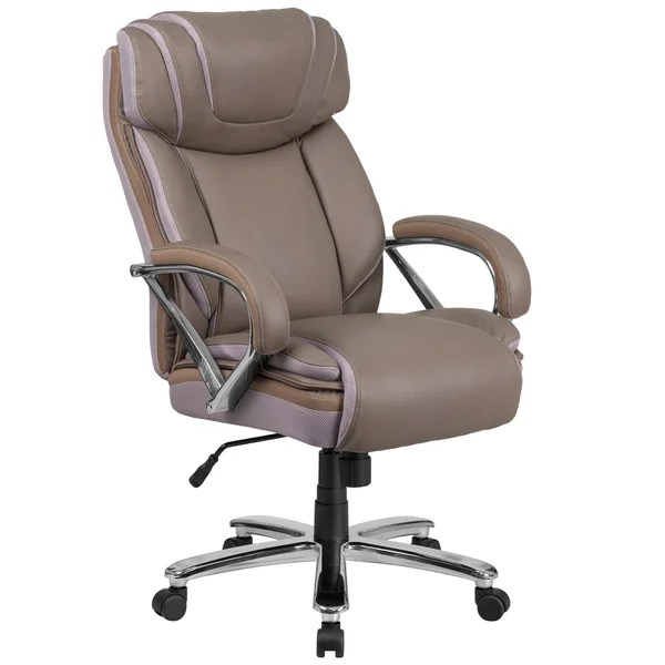 big and tall computer chair steelcase jersey review shop santoro taupe leather executive adjustable swivel office with wide cushioned seat padded arms on sale free shipping today