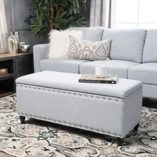 ottoman tables living room best paint for walls buy storage online at overstock com our tatiana studded fabric bench by christopher knight home