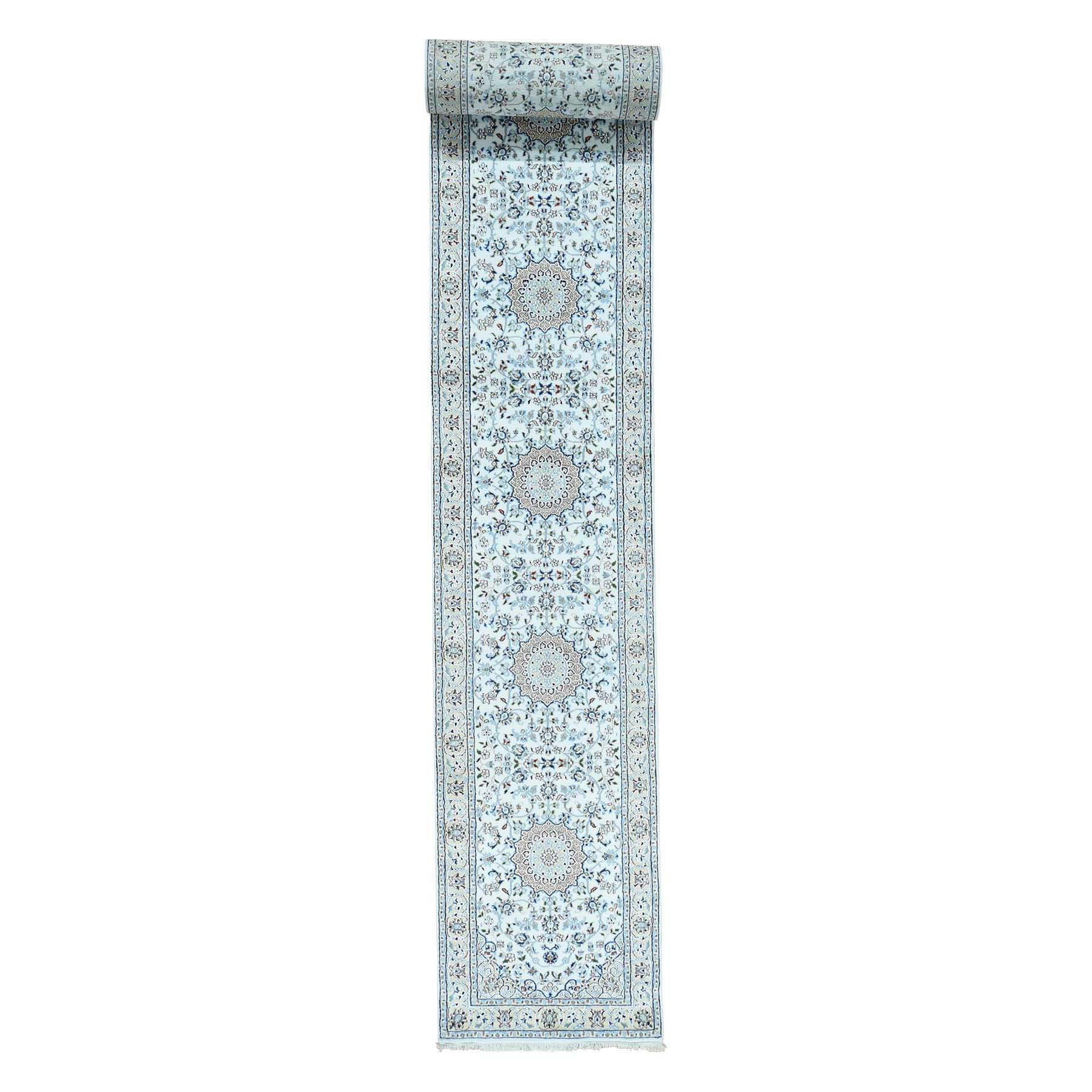 Shahbanu Rugs Hand-Knotted Wool and Silk 250 Kpsi Ivory Nain XL Runner Rug (2'7x18'0)