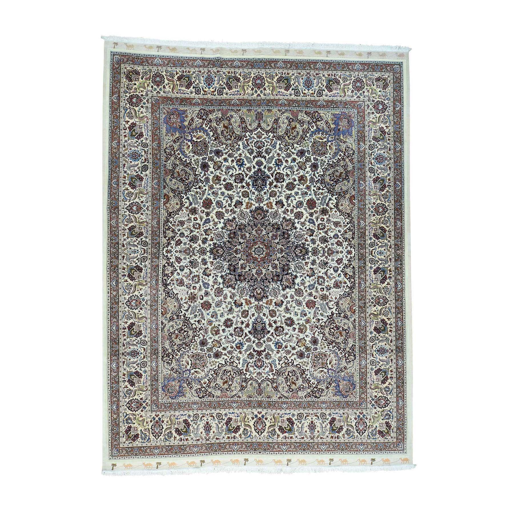 Shahbanu Rugs Hand-Knotted Persian Mashad Saberi Wool And Silk 400 Kpsi Rug (10'0x13'8)