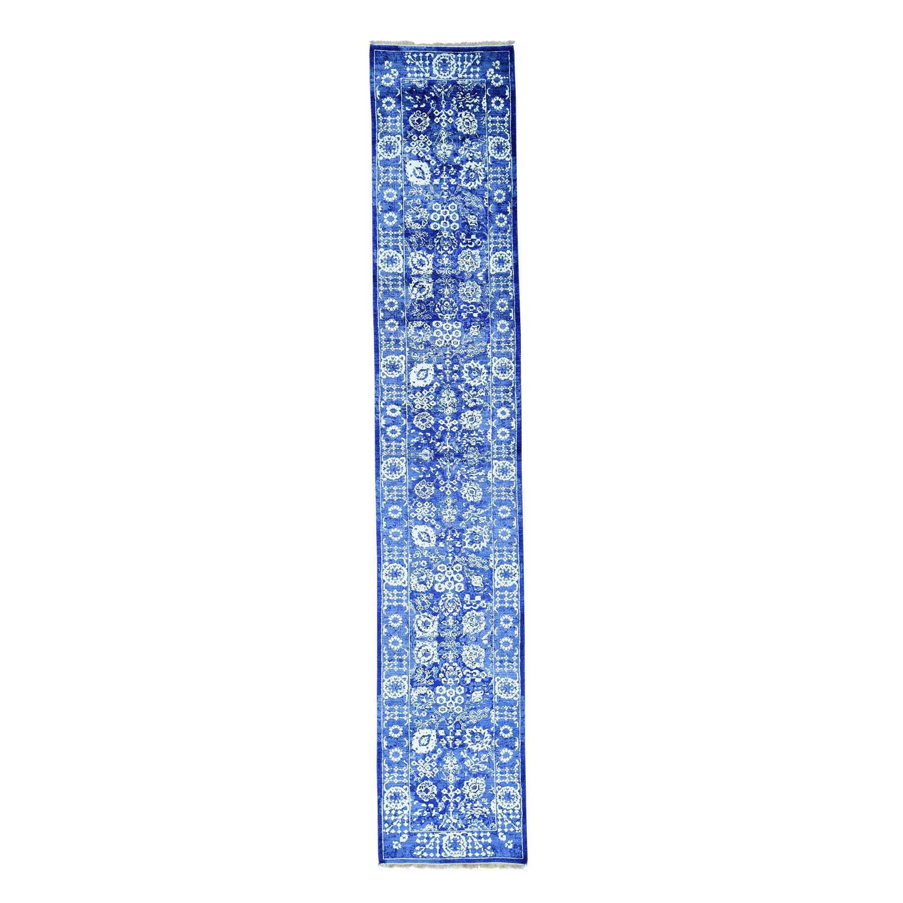Shahbanu Rugs XL Runner Wool and Viscose from Bamboo silk Tone on Tone Tabriz Handmade Rug