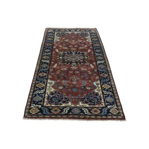 Shahbanu Rugs Handmade 100 Percent Wool Antiqued Heriz Recreation Runner Rug