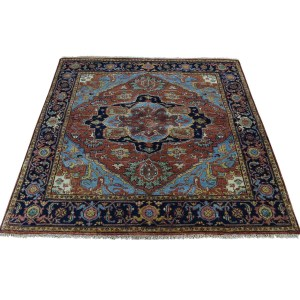 Shahbanu Rugs Hand-Knotted Pure Wool Antiqued Heriz Recreation Square Rug (4'1x4'2)