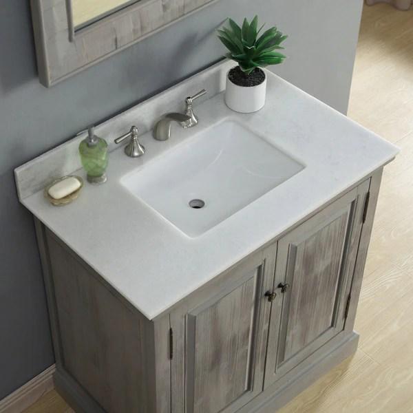 Shop Rustic Style 36 Inch Single Sink Bathroom Vanity With Modern Quartz Top Overstock 14162490