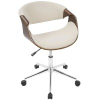 Curvo Mid-Century Modern Office Chair in Walnut Wood and ...