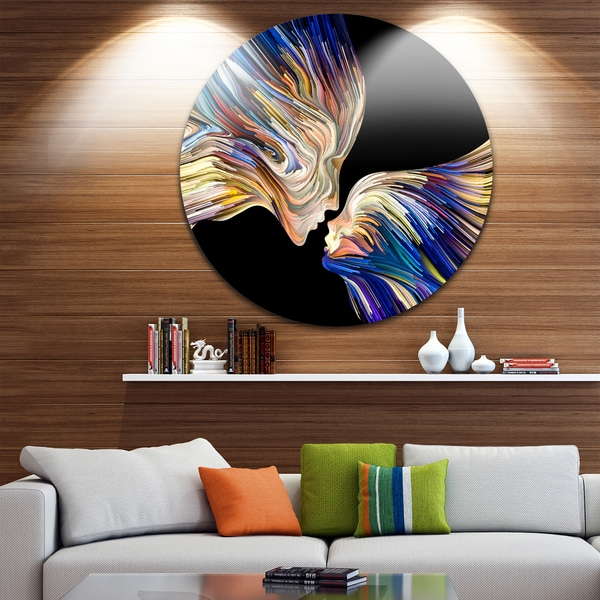 metal wall art decor for living room pc cases shop designart metaphorical mind painting sensual glossy circle x27