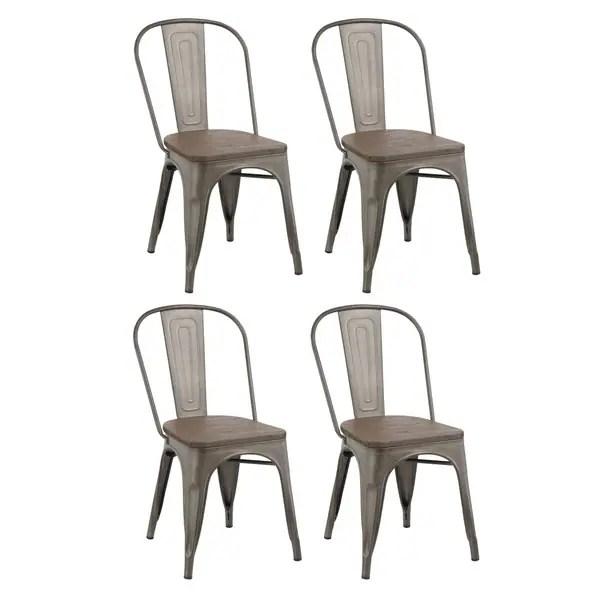 distressed dining chairs ladder back restaurant shop industrial metal vintage antique bistro cafe stackable chair set of 4