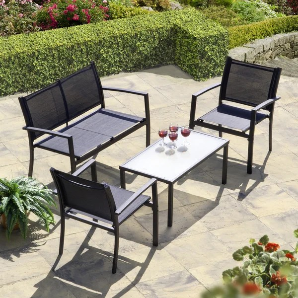 two seater garden table and chairs yugoslavia folding chair shop brasilia set black textilene free shipping today overstock com 14227511