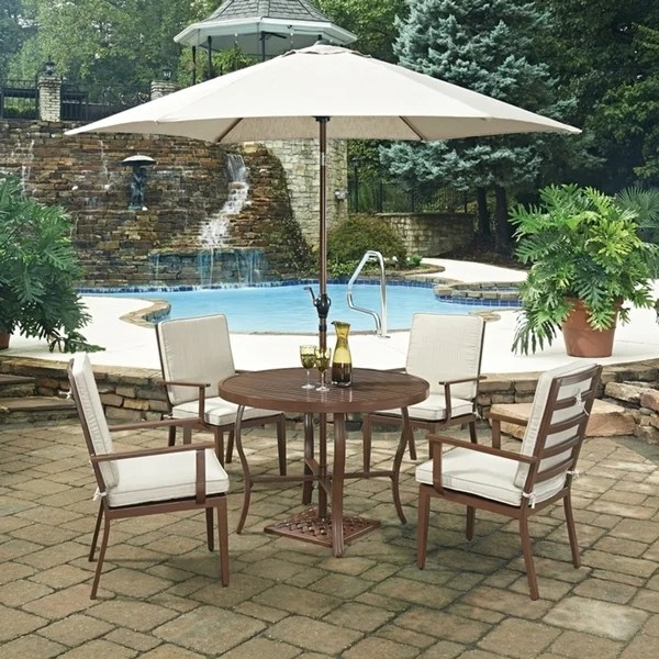 key west chairs lowes black outdoor rocking chair shop 7 pc round dining table 4 with umbrella base by home styles free shipping today overstock com 14229950