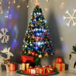 Shop 5 Artificial Holiday Pre Lit Fiber Optic Led Light Up Christmas Tree 180 Tips 180 Leds 8 Light Settings Stand On Sale Overstock 14253535