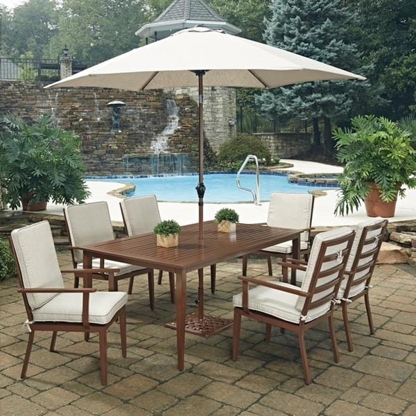 key west chairs hanging chair early settler shop 9 pc rectangular outdoor dining table 6 with umbrella base by home styles free shipping today overstock com 14265909