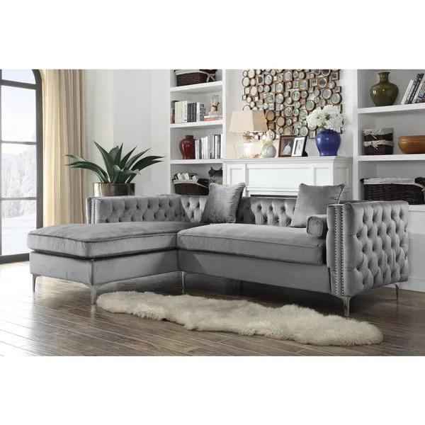 y sofa sofas cheap shop chic home monet velvet silvertone metal leg left facing sectional grey