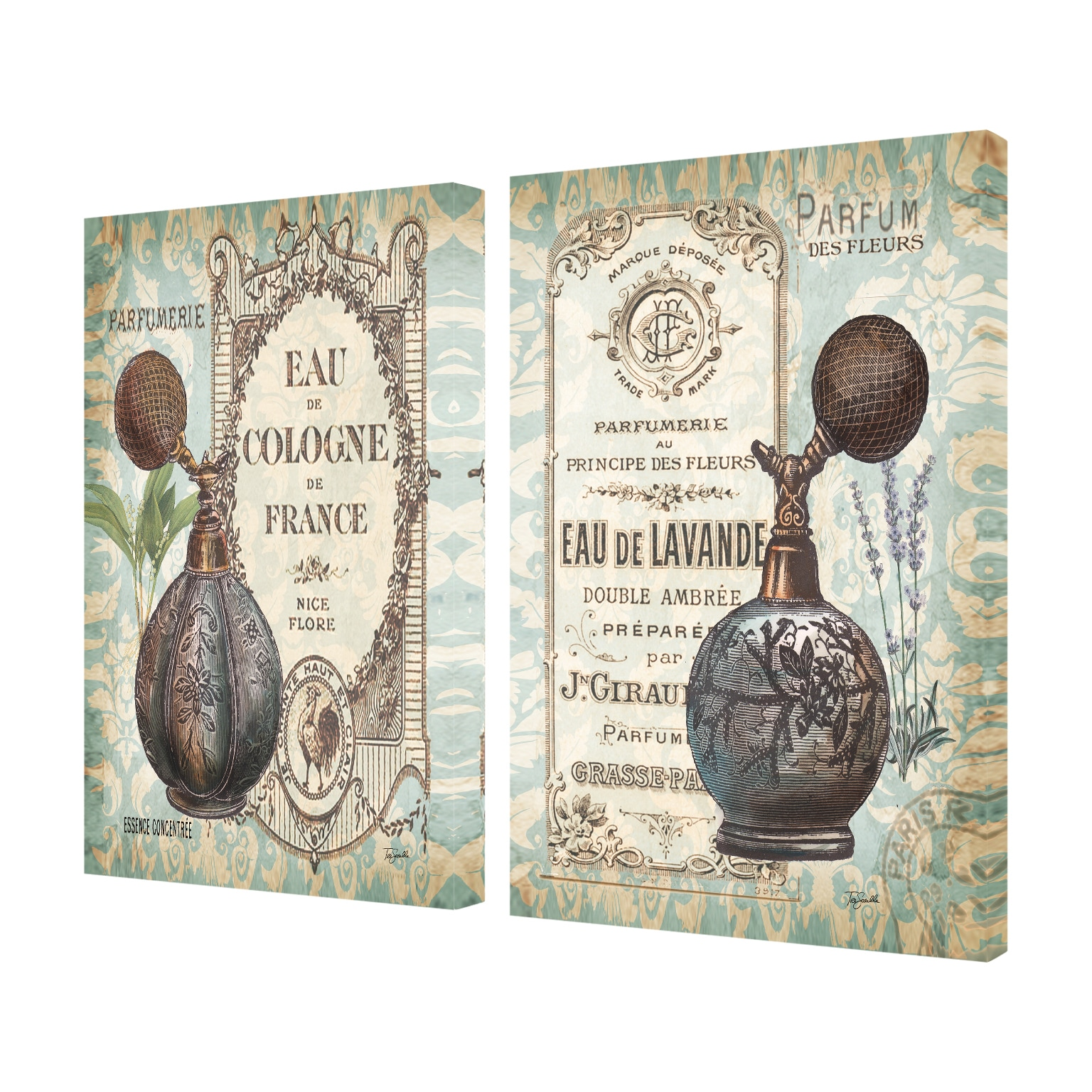 'Cologne et Lavande Vintage Damask' 2-piece Stretched Canvas Wall Art Set