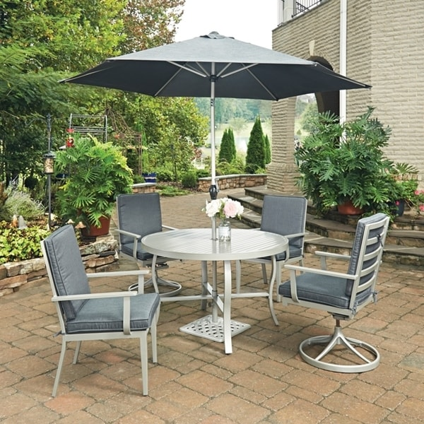 South Beach 7 Pc Round Outdoor Dining Table 2 Swivel