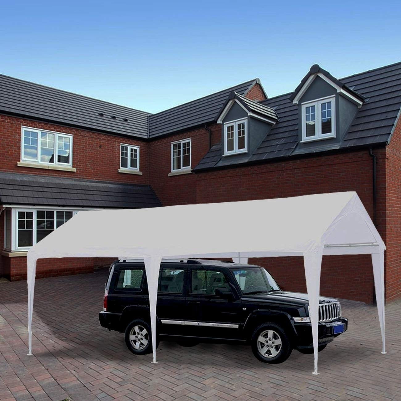 abba patio 10 x 20 feet domain outdoor carport canopy with 6 steel legs white