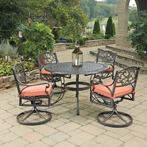 Shop Biscayne Rust Bronze Round 5 Pc Outdoor Dining Table